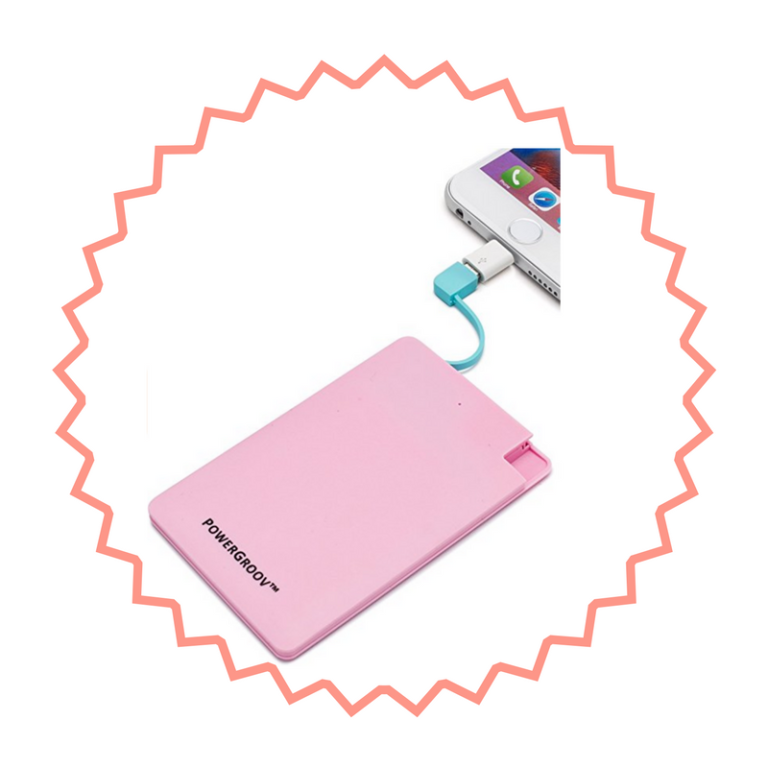 Powergroove pink portable powerbank